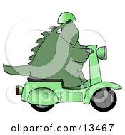 Green Biker Dino Wearing A Helmet And Riding A Green Scooter