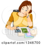 Stressed Brunette Caucasian Woman Going Over Her Budget