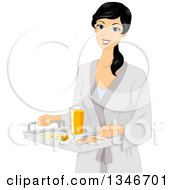 Clipart Of A Black Haired Woman In A Robe Carrying A Tray Of Breakfast Foods Royalty Free Vector Illustration