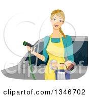 Dirty Blond Caucasian Woman Washing A Car