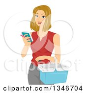 Clipart Of A Dirty Blond Caucasian Woman Holding A Basket And Reading A Shopping List Royalty Free Vector Illustration