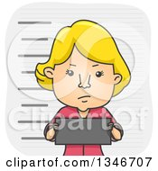 Clipart Of A Cartoon Blond Caucasian Woman Holding A Tag And Getting A Mugshot Taken Royalty Free Vector Illustration by BNP Design Studio