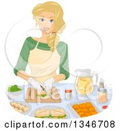 Clipart Of A Happy Blond Caucasian Woman Making Sandwiches And Snacks Royalty Free Vector Illustration