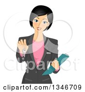 Clipart Of A Beautiful Black Haired Real Estate Agent Holding Out Keys Royalty Free Vector Illustration