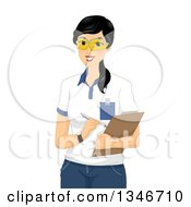 Clipart Of A Happy Black Haired Female Scientist Taking Notes On A Clipboard Royalty Free Vector Illustration by BNP Design Studio