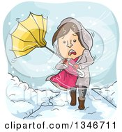 Clipart Of A Cartoon Brunette Caucasian Woman Caught In A Snow Storm With An Umbrella Royalty Free Vector Illustration by BNP Design Studio