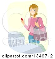 Clipart Of A Happy Dirty Blond Caucasian Woman Holding A Ticket At A Turnstile Royalty Free Vector Illustration by BNP Design Studio