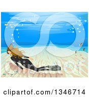 Clipart Of A Dirty Blond Caucasian Woman Snorkel Free Diving Along The Seabed Royalty Free Vector Illustration