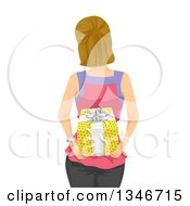 Clipart Of A Rear View Of A Dirty Blond Caucasian Woman Holding A Gift Behind Her Back Royalty Free Vector Illustration