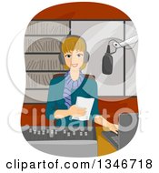 Clipart Of A Happy Dirty Blond Caucasian Woman Disk Jockey Using A Laptop And Reading From A Piece Of Paper Royalty Free Vector Illustration