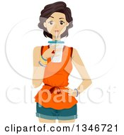 Clipart Of A Young Brunette Caucasian Woman Drinking A Beverage Royalty Free Vector Illustration by BNP Design Studio