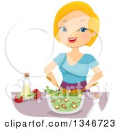 Clipart Of A Cartoon Strawberry Blond Caucasian Woman Tossing A Salad Royalty Free Vector Illustration by BNP Design Studio