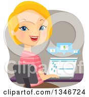 Clipart Of A Cartoon Caucasian Woman Banking On Her Laptop Computer Royalty Free Vector Illustration