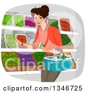Clipart Of A Happy Brunette Woman Shopping In A Grocery Produce Section Royalty Free Vector Illustration by BNP Design Studio