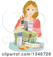 Clipart Of A Happy Blond Caucasian Female Student Putting Items In A Bag Royalty Free Vector Illustration