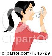 Black Haired Woman Using An Asthma Inhaler