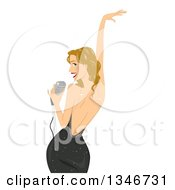 Clipart Of A Sexy Dirty Blond Caucasian Female Singer Posing Looking Back And Holding A Microphone Royalty Free Vector Illustration by BNP Design Studio