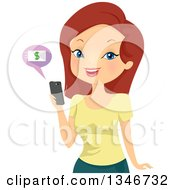 Clipart Of A Cartoon Red Haired White Woman Online Banking On Her Cell Phone Royalty Free Vector Illustration