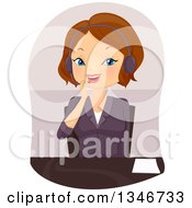 Clipart Of A Cartoon Brunette Caucasian Woman Talking On A Headset In An Office Royalty Free Vector Illustration