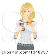 Clipart Of A Blond Caucasian Woman Using A Credit Card To Purchase Something On Her Cell Phone Royalty Free Vector Illustration