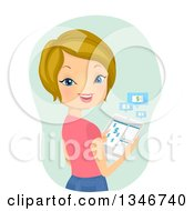 Clipart Of A Cartoon Dirty Blond Caucasian Woman Banking On Her Tablet Computer Royalty Free Vector Illustration