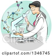 Clipart Of A Sketched Female Scientist Viewing Samples Through A Microscope Royalty Free Vector Illustration