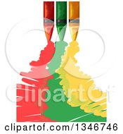 Clipart Of Red Green And Yellow Crains Scribbling Royalty Free Vector Illustration
