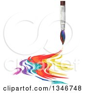 Clipart Of A Paintbrush With Colorful Strokes Royalty Free Vector Illustration by BNP Design Studio
