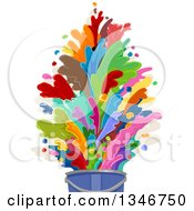 Clipart Of A Bucket With Colorful Paint Splashes Royalty Free Vector Illustration