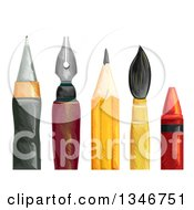 Clipart Of Ball Point And Fountain Pens Pencil Paintbrush And Crayon Royalty Free Vector Illustration by BNP Design Studio
