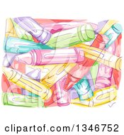 Clipart Of A Background Of Sketched Painted Crayons Royalty Free Vector Illustration