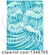Clipart Of A Background Of Waves Royalty Free Vector Illustration