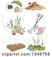 Clipart Of A Sketched Garden Pests Tools Weeds And A Bed Royalty Free Vector Illustration