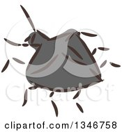 Clipart Of A Sketched Garden Pest Beetle Royalty Free Vector Illustration