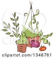 Clipart Of A Sketched Garden Pot Hanging Basket Beet And Tomato Royalty Free Vector Illustration