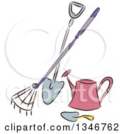 Clipart Of A Sketched Garden Rake Shovel Trowel And Watering Can Royalty Free Vector Illustration