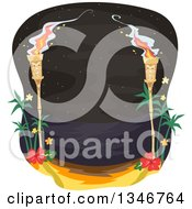 Clipart Of Lit Tiki Torches By A Path With A View Of A Beach At Night Royalty Free Vector Illustration