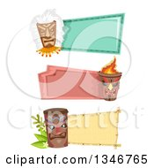 Clipart Of Blank Signs With Tiki Statues And Masks Royalty Free Vector Illustration