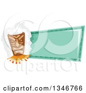 Clipart Of A Tiki Mask A Blank Turquoise Sign Royalty Free Vector Illustration by BNP Design Studio