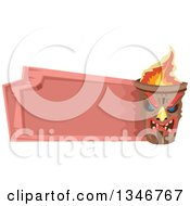 Clipart Of A Fiery Tiki Statue With A Blank Pink Sign Royalty Free Vector Illustration