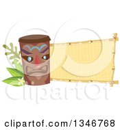 Clipart Of A Tiki Statue With Branches Plumeria Flowers And A Blank Banner Royalty Free Vector Illustration by BNP Design Studio