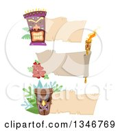 Clipart Of Blank Banners With Tiki Statues And A Torch Royalty Free Vector Illustration by BNP Design Studio