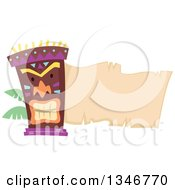 Tiki Statue With Palm Branches And A Blank Parchment Banner