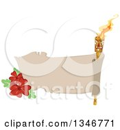 Clipart Of A Blank Parchment Banner With A Tiki Torch And Hibiscus Flowers Royalty Free Vector Illustration by BNP Design Studio