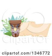 Clipart Of A Tiki Statue With Branches And A Blank Parchment Banner Royalty Free Vector Illustration