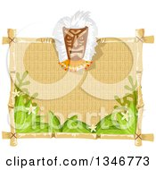 Clipart Of A Tiki Mask On A Blank Sign With Leaves And Flowers Royalty Free Vector Illustration