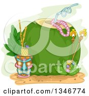 Clipart Of A Giant Coconut With A Straw Tiki Torches And Pinepple Beverage Royalty Free Vector Illustration