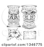 Clipart Of A Black And White Engraved Tiki Statue Mask Hibiscus Flower And Wood Sign Royalty Free Vector Illustration