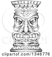Clipart Of A Black And White Engraved Tiki Statue Royalty Free Vector Illustration