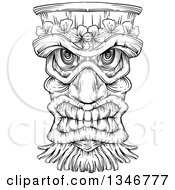 Clipart Of A Black And White Engraved Tiki Mask Royalty Free Vector Illustration